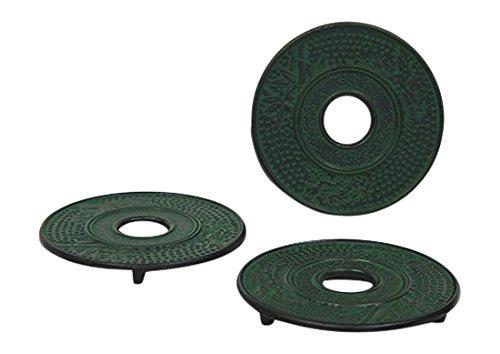 Hues & Brews - Juego de salvamanteles de hierro fundido (3 piezas), color verde