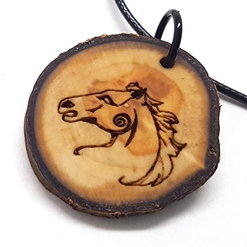 Celtic Horse Wooden Pendant Necklace, Animal Symbol Wood Pendant