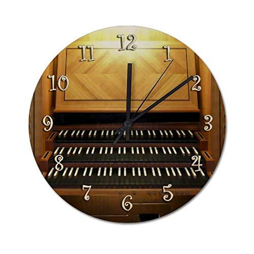 XJZKA Silent Round Wall Clocks 30 CM, Three Pipe Organ Keyboard PVC Clocks Living Room Decorative, Battery Operated, Easy to Read