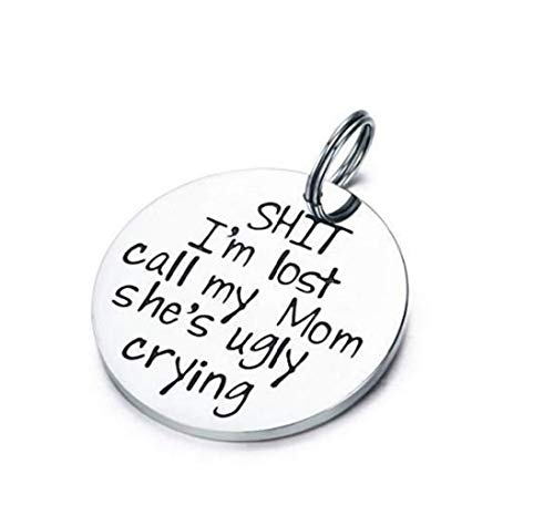 Funny Pet ID Tags Stainless Steel Pet Tags Dog Collar Tags for Dog Lovers Sht I'm Lost Call My Mom She Is Ugly Crying