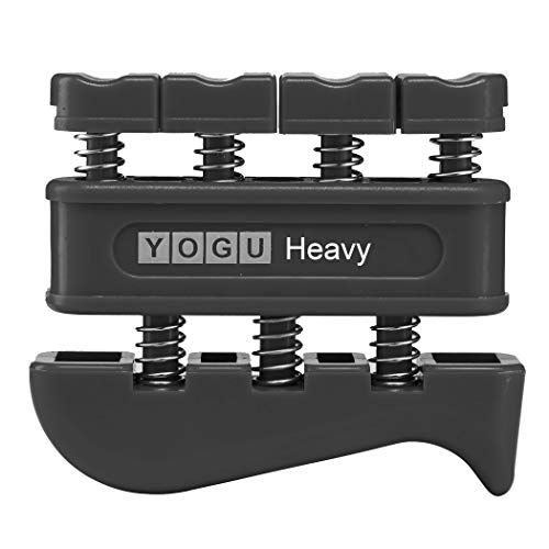 YOGU Hand Grip Finger Strengthener (Black, Heavy Tension (11-Pounds per Finger))