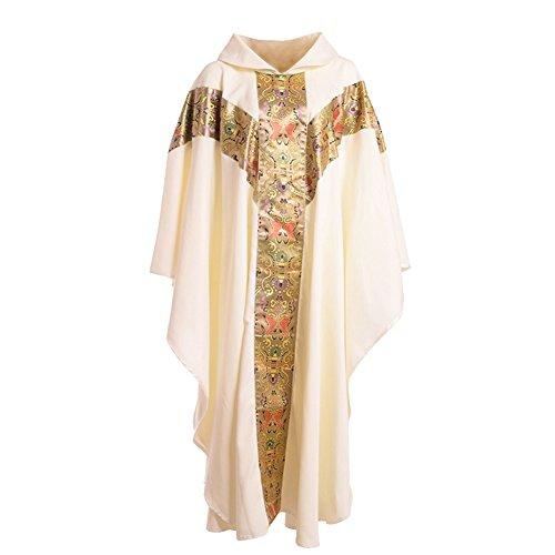 BLESSUME Priester Celebrant Messgewand katholisch Kirche Vater Masse Gewänder Robe mit Stickerei Weiß