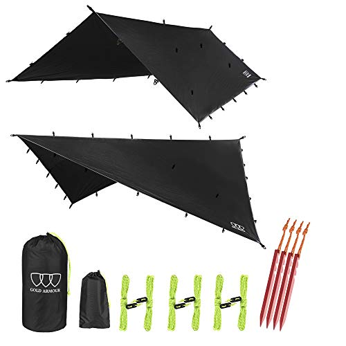 Gold Armour Rainfly Tarp Hammock, 14.7ft/12ft/10ft/8ft Rain Fly Cover, Waterproof Ultralight Ripstop Fabric, Survival Gear Backpacking Camping Tent Accessories (Black, 12ft x 10ft)
