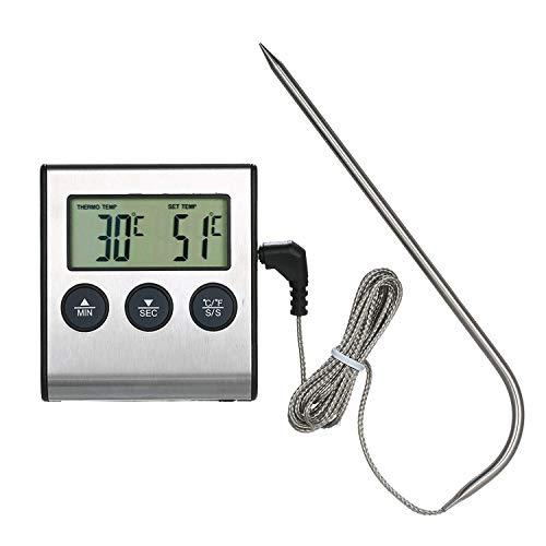 Termometro Cucina Digitale a Sonda,KKmoon BBQ Termometro per Griglia Termometro per Alimenti 0~250 ° C con Funzione Timer di Allarme Indicatore Digitale LCD Display per Barbecue Forno Griglia