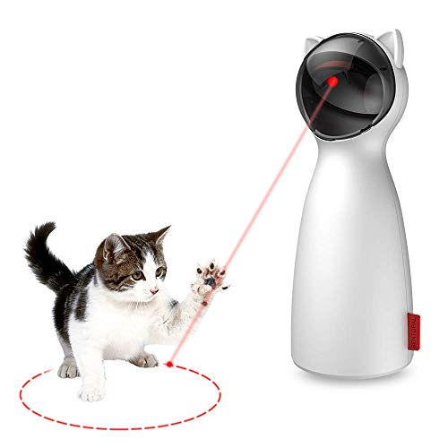 Zcogo IIKOOPEEK Laserspielzeug für Katzen, Kätzchen, Hunde, höhenverstellbar, USB-/Akku-Ladebetrieb, leise, 5 zufällige Muster, verstellbar