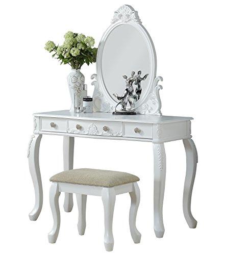 BOBKONA PDEX- Oval Shape Mirror Vanity Table With Stool Set, White