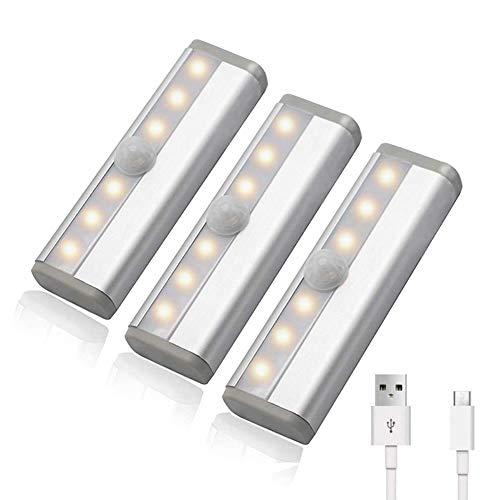 AITOO 人感センサーライト 室内 USB充電式 明暗センサーライト 自動点灯 消灯 小型 マグネット付 6LED 高輝度 目に優しい 省エネ 配線不要 寝室 玄関 廊下 押入れ クローゼット ロッカー 3個セット ウォームホワイト