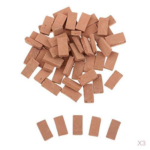 Fenteer 150 Stück 1:35 Scale Ziegel Ziegelsteine Ministeine Bodenfliesen Modell, Größe 1,1x0,6cm