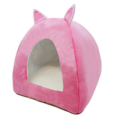 Cama para Gatos Tienda De Campaña De Iglú Tipo De Tienda De Campaña Cama Plegable para Perros Casa Plegable Gatito Cachorro Dormir Felpa Suave Estera Lavable S Rosa