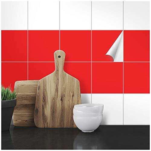 Wandkings Fliesenaufkleber - Wähle eine Farbe & Größe - Hellrot Seidenmatt - 15 x 15 cm - 50 Stück für Fliesen in Küche, Bad & mehr