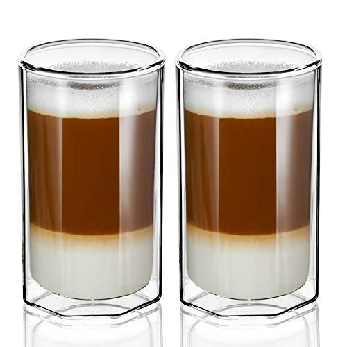 ZENS Doppelwandige Latte Macchiato Gläser, 400ml Unique Octagon Thermogläser 2er-Set, Klar Borosilikat-isolierter Teeglas Doppelwandig für Cappuccino oder Tee