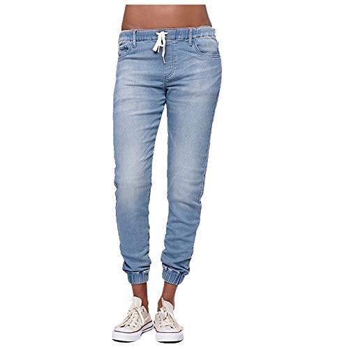 N\P Pantalones casuales con cordón elástico en la cintura para mujer