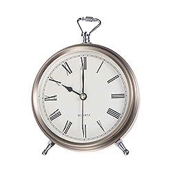 Artibetter Metal Alarm Clock Roman Numerals Table Bedside Silent Alarm Clock Without Battery