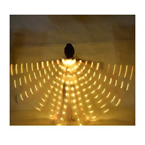 SUKDO Alas De Danza del Vientre para Nios Alas De ngel LED ISIS con Bolsa De Almacenamiento Porttil Palo Telescpico Escenario Infantil Disfraz De Baile para Fiesta De Cosplay Navidad,Amarillo