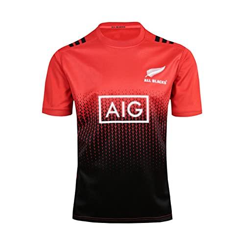 DZTIZI Rùgby Jérsey para Hombre 2017 All Blacks Rùgby Polo Shirt Camiseta De Entrenamiento Supporter Football Sport Top De Manga Corta,Red-Xxlarge