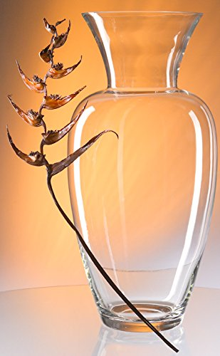 Oberstdorfer Glashütte vaas hoge glazen vaas grote bodemvaas helder glas XXL grote bloemenvaas kristallen glas grote opening 23 cm, hoogte 60 cm, mondgeblazen