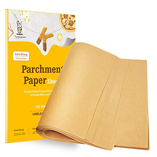 katbite Backpapier 200 Stück, 30.5 x 40.6 cm Braun Zuschnitte Pergament Papier, zum Backen von Keksen, Kochen, Backen, Braten