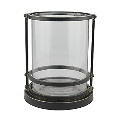 Stonebriar Industrial Black Metal Frame Pillar Candle Holder with Removable Glass Cylinder, Rustic Home Decor Accents for Dining Room, Living Room, Bathroom, and Bedroom, Tall