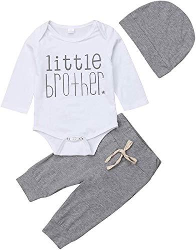 Conjunto de ropa para bebé recién nacido, 3 piezas, mameluco con estampado de Hermano pequeño + pantalones largos + sombrero y pantalones
