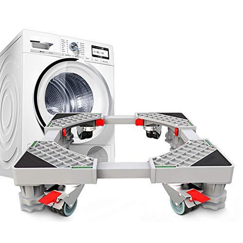 Support Socle Machine a Lave Linge, Ajustable Réfrigérateur Base Acier Inoxydable Stent pour Gaziniere Séchoir et Distributeur Automatique, Support de Machine Universel avec Roues