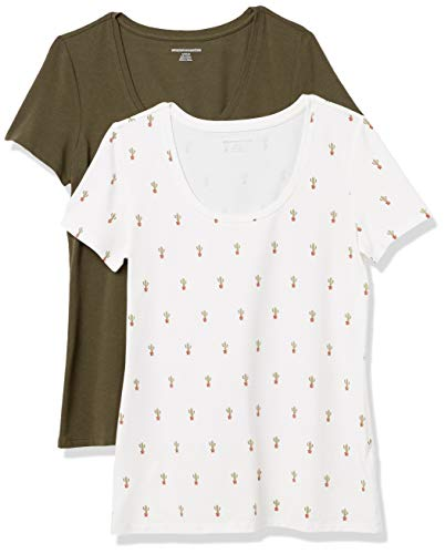 Amazon Essentials Paquete de 2 Camisetas de Manga Corta con Cuello Redondo. Fashion-t-Shirts, Estampado Cactus Oliva, 38-40, Pack de 2