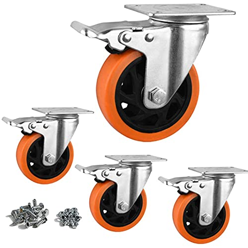 YeMI 5 Inch Plate Swivel Caster Wheels with Brake, Heavy Duty Ployurethane Castors with Plate for Furniture, Workbench, Cart, Trolley-2200 Lbs Work Load Orange (5''Silver with Brake)