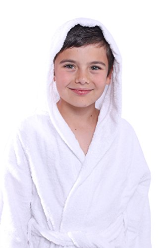 BAGNO MILANO Kids - Unisex Hooded Soft Terry%100 Turkish Cotton Bathrobe, Girls - Boys Cotton Robe, Made in Turkey (White, Small/Age 3-5)