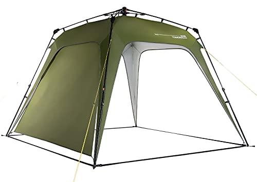 Lumaland x Where Tomorrow Gazebo de Camping – 1 Pared Lateral Incluido - Carpa de jardín – Cenador para Patio – Ideal para Acampada/Festival – Instalación Fácil – Verde Oscuro