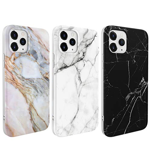 Mavis's Diary Marble Case Compatible with iPhone 12/12 Pro 6.1inch, 3-Pack Flexible TPU Protective Cases with Refreshing Colors, Matte Shockproof Cover 3pcs Cute Marbling Pattern Case