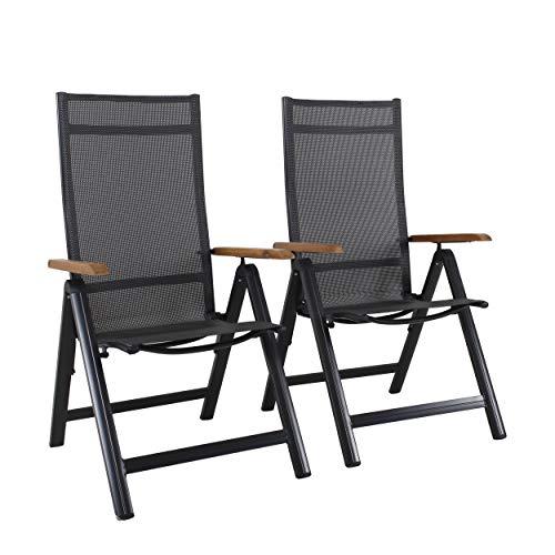 Chicreat - Silla plegable de aluminio con reposabrazos de acacia con certificado FSC y respaldo alto reclinable con 9 posiciones, textileno 4 x 4 (juego de 2)