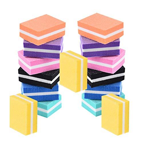21PCS Mini éponge lime à ongles Miniature éponge lime Simple Bean Curd Shape Manucure File Double-Sided Polishing Nail File pour Home Store (couleurs