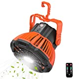 SUPOLOGY Portable Camping Ceiling Fans Lantern for Tents, Power Bank Tent Fan LED Light Rechargeable with Remote Control, Quiet and Powerful USB Desk Fan for Outdoor Camping, Home, Office (Orange)