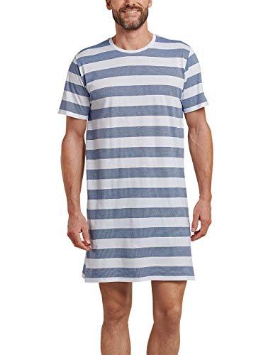 Schiesser Herren Nachthemd Kurz Einteiliger Schlafanzug, Blau (Blau Indigo 824), Medium (Herstellergröße: 050)