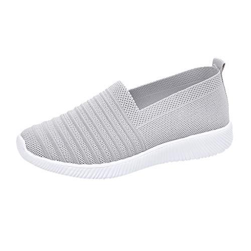 LHWY Mujer Zapatillas de Deportivas Planas Antideslizantes Suela Blanda Zapatos de Malla Elástica para al Aire Libre (36EU, Gris)