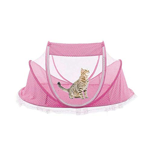 View Portable Outdoor Cat House Pet Housing for Indoor Cats, Pop-Up Tent for Sun Deck, Patio, Porch, Courtyard, Balcony with Storage Bag Cotton Bed with Mosquito Net,Pink