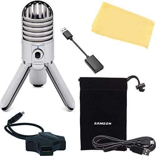 Samson Meteor Micrófono condensador portátil USB de estudio con bolsa de transporte, cable USB, hub USB, adaptador USB-C y paño de pulido Austin Bazaar
