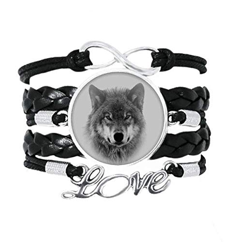 OFFbb-USA Gray Wolf Hunts Fiercely Art Deco Gift Fashion Bracelet Love Accessory Twisted Leather Knitting Rope Wristband Gift