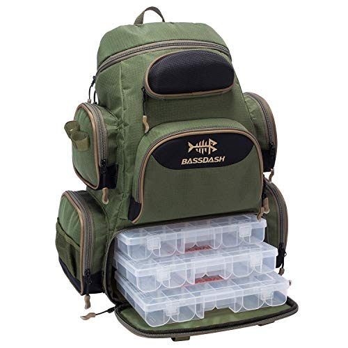 Bassdash Fishing Tackle Backpack Water Resistant Lightweight Tactical Bag Soft Tackle Box with Rod Holder and Protective...