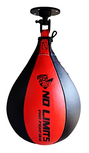 AQF Leder Speed Ball & Swivel Boxing Boxsack MMA Speed Bag Trainingsset (Schwarz Rot)