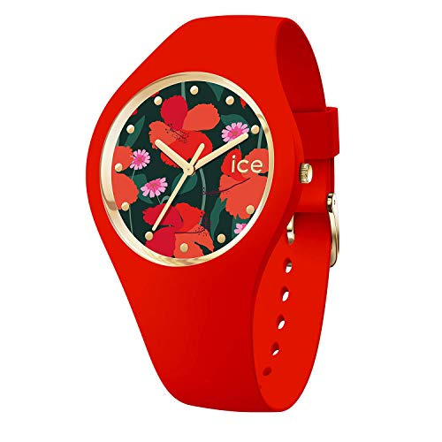 Ice-Watch - ICE flower Floral passion - Rote Damenuhr mit Silikonarmband - 017577 (Medium)