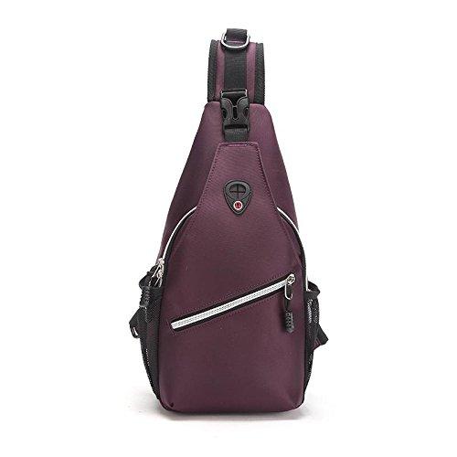 Sac de Poitrine Oxford voyage escalade téléphone portable ipad portefeuille grande capacité sac de la Messenger bag Sling bag , Purple