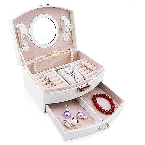 Joycaling - Caja de Almacenamiento para Joyas, de Piel, con Doble cajón, Regalo para niñas y Madres