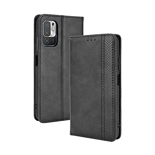 GOGME Leder Hülle für Xiaomi Poco M3 Pro 5G | Redmi Note 10 5G, Premium PU/TPU Leder Folio Hülle Schutzhülle Handyhülle, Flip Hülle Klapphülle Lederhülle mit Standfunktion und Kartensteckplätzen, Schwarz