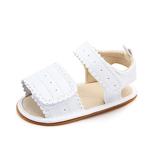 Sandalias Bebe Niña Verano Zapatos Recién Nacido Plano Antideslizante Blanco 12-18 Meses