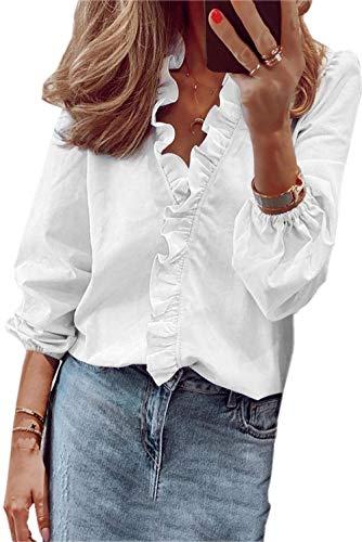 ZIYYOOHY Damen Bluse Hemd Einfarbig Rüsche V-Ausschnitt Langarm Lose Tops Oberteile Langarmshirt (Weiß, S)