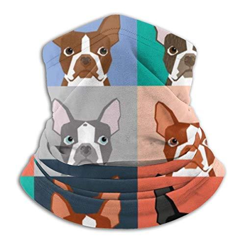 WlQshop Boston Terrier Dog Pugs Cute Fleece Neck Warmer Heat Trapping Sun-Proof Warmer Schal Tube Soft Elastic Balaclava Half Mask Unisex Windproof Ski Warmer Schal Cover for Winter Skiing Run