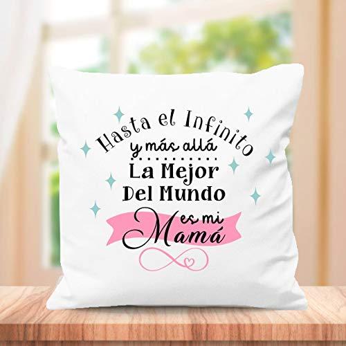 SUPER STICKER Cojín Cuadrado Personalizado, para el Mejor mamá del Mundo, Regalo día de la Madre, la Mejor Madre del Mundo es mi Madre (m13)