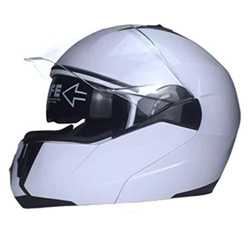 WGFGXQ Professioneller Motorrad-Integralhelm DOT-zertifizierter Rennrad-Motorradhelm Cromwell-Helm Jet-Doppelspiegel Modularer Flip-Helm (S, M, L, XL), L.
