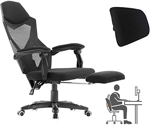 HOMEFUN Ergonomic Office Chair, High Back Executive Desk Chair with Footrest Adjustable Comfortable Task Chair with Armrests and Lumbar Support Black