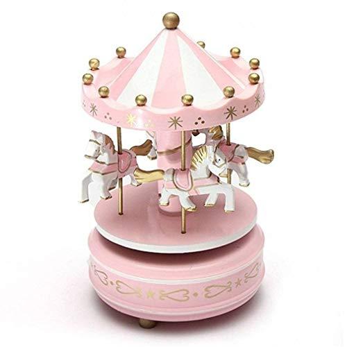 Candora Houten Merry-Go-Ronde carrousel muziekdoos Kids speelgoed Gift Wind-Up muzikale doos